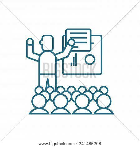 Motivating Staff Line Icon, Vector Illustration. Motivating Staff Linear Concept Sign.