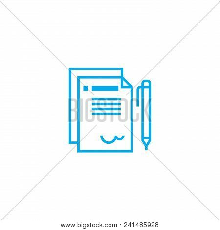 Official Letter Line Icon, Vector Illustration. Official Letter Linear Concept Sign.