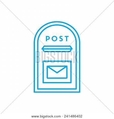 Outcoming Correspondence Line Icon, Vector Illustration. Outcoming Correspondence Linear Concept Sig