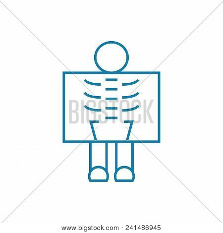 Passing X-ray Line Icon, Vector Illustration. Passing X-ray Linear Concept Sign.
