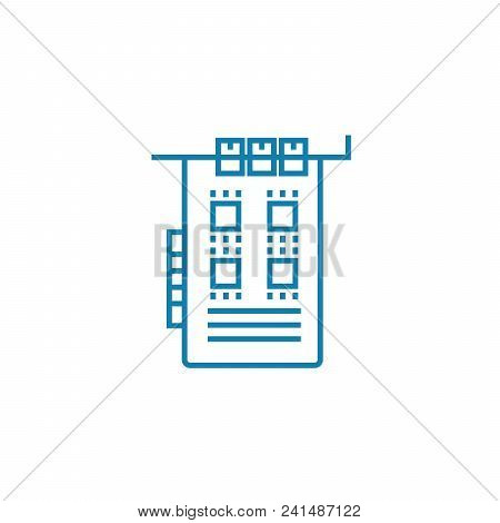 Pci Card Line Icon, Vector Illustration. Pci Card Linear Concept Sign.