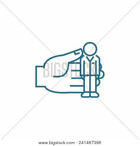 Personnel Management Line Icon, Vector Illustration. Personnel Management Linear Concept Sign.
