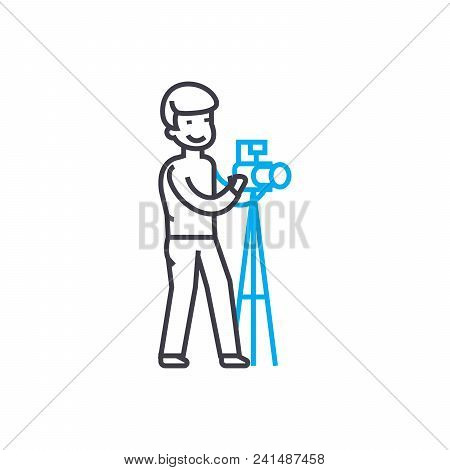 Photographing Line Icon, Vector Illustration. Photographing Linear Concept Sign.