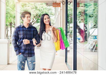 Couple Enjoying Romance Spending Shopping Bags Fashion Shopping Street