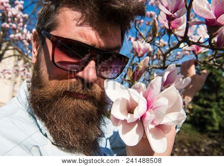 Guy Looks Cool With Stylish Sunglasses. Man With Beard And Mustache Wears Sunglasses On Sunny Day, M