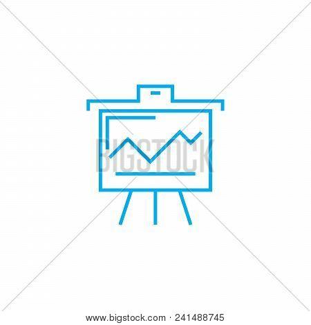 Presenting Interim Results Line Icon, Vector Illustration. Presenting Interim Results Linear Concept