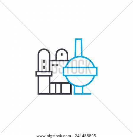 Production Complex Line Icon, Vector Illustration. Production Complex Linear Concept Sign.