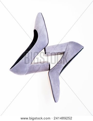 Shoes Made Out Of Grey Suede On White Background, Isolated. Female Footwear Concept. Footwear For Wo