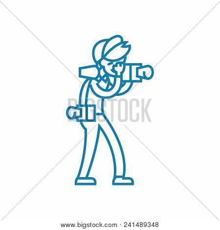 Professional Photojournalist Line Icon, Vector Illustration. Professional Photojournalist Linear Con