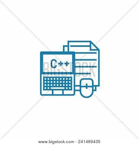 Program Coding Line Icon, Vector Illustration. Program Coding Linear Concept Sign.