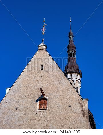 Town Hall And Town Hall Square Of Tallinn, Estonia. Tallinn City Hall Is An Architectural Monument O