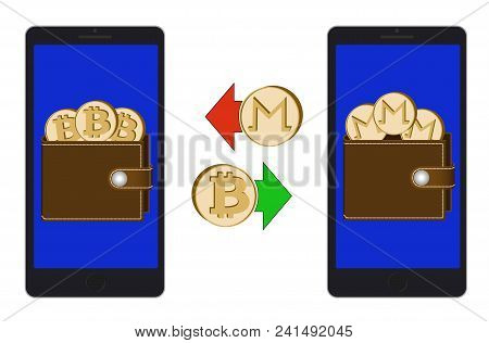 Exchange Between Bitcoin And Monero In The Phone On A White Background , Exchange Cryptocurrency In
