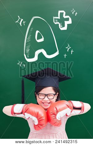 Cute Girl Wear Bachelor Cap With Glove And A Plus Text On Green Chalkboard