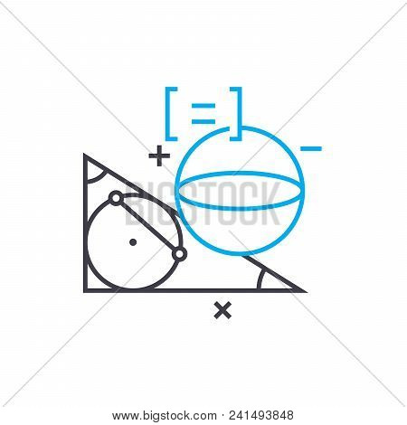 Study Of Geometry Line Icon, Vector Illustration. Study Of Geometry Linear Concept Sign.