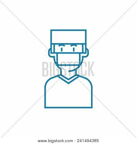 Surgeon Line Icon, Vector Illustration. Surgeon Linear Concept Sign.