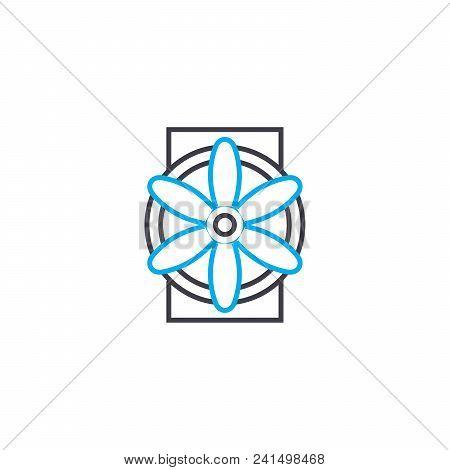 Ventilation Industrial System Line Icon, Vector Illustration. Ventilation Industrial System Linear C
