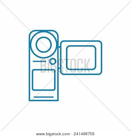 Videotaping Line Icon, Vector Illustration. Videotaping Linear Concept Sign.