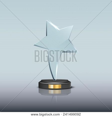 Glass Award Template. Vector Blank Glass Trophy Award With Star