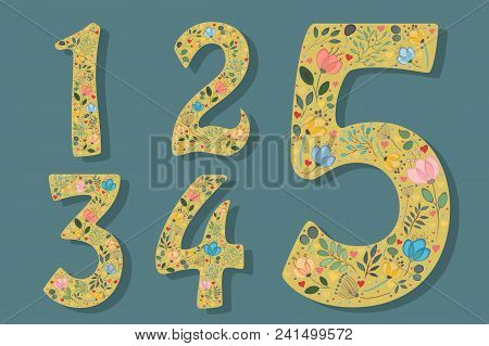 Set Of Floral Yellow Numerals. Graceful Watercolor Flowers And Plants. Small Red And Pink Hearts. On