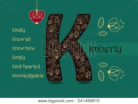 Name Day Card For Kimberly. Brown Letter K With Golden Floral Decor. Vintage Red Heart With Chain. W