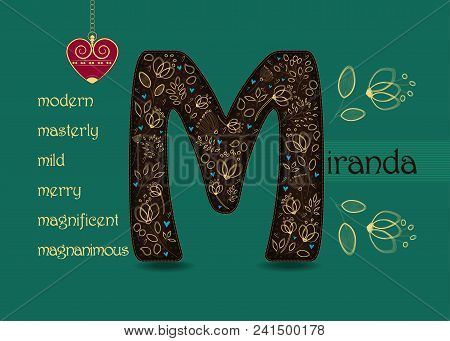 Name Day Card For Miranda. Artistic Brown Letter M With Golden Floral Decor. Vintage Red Heart With