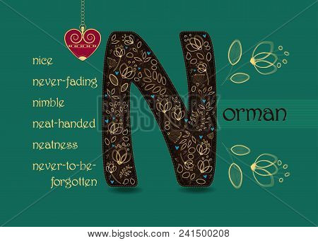 Name Day Card For Norman. Brown Letter N With Golden Floral Decor. Vintage Heart With Chain. Words B