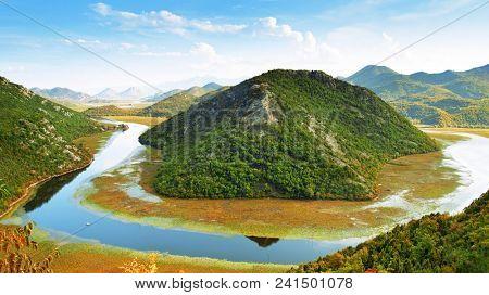 Panoramic landscape view of Skadar Lake, Montenegro