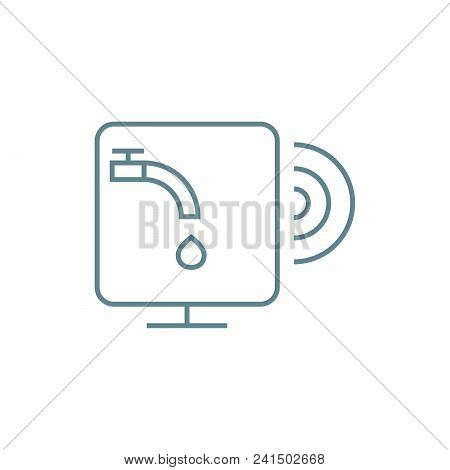 Water Supply System Management Line Icon, Vector Illustration. Water Supply System Management Linear