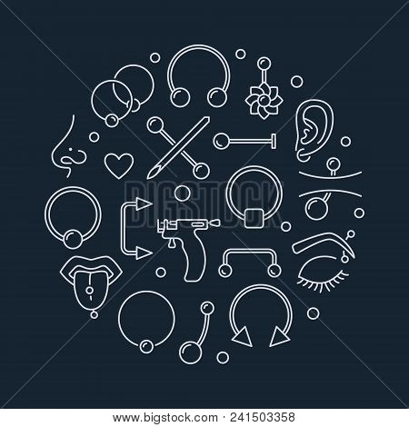 Piercing Vector Circular Illustration Made With Linear Piercings Concept Icons On Dark Background