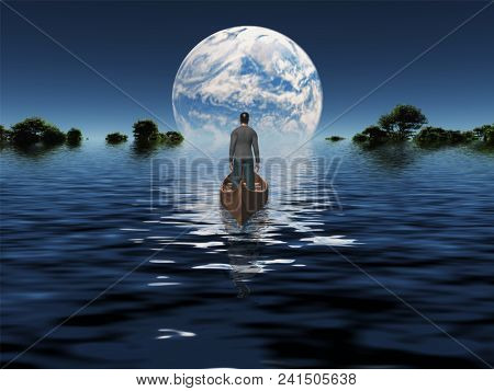 Man in a boat floats toward green horizon. Planet rise over calm water surface. 3D rendering