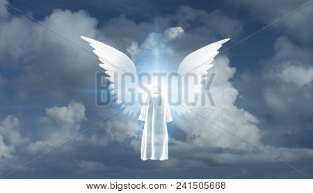 Figure in white cloak stands before winged star in cloudy sky. 3D rendering