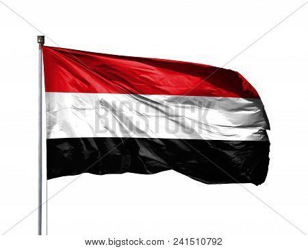 National Flag Of Yemen On A Flagpole, Isolated On White Background.