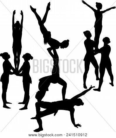 Gymnasts Acrobats Vector Black Silhouette. Athletic Acrobatics