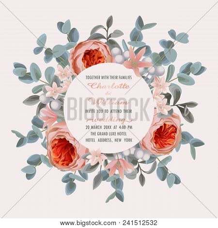 Wedding Invitation Card With Frame From Flowers And Eucalyptus On Gentle Pink Background. Fashion Gr