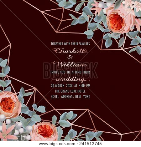 Wedding Invitation Card With Pink Gold Geometric Frame, Flowers And Eucalyptus On Burgundy Backgroun