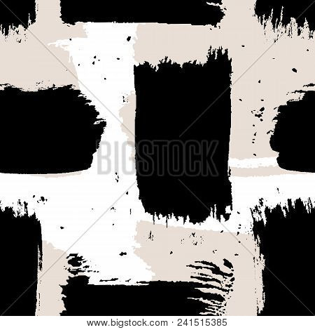Seamless Vector Abstract Pattern With Brush Strokes. Hand-painted Texture. Black Brushstrokes On A W