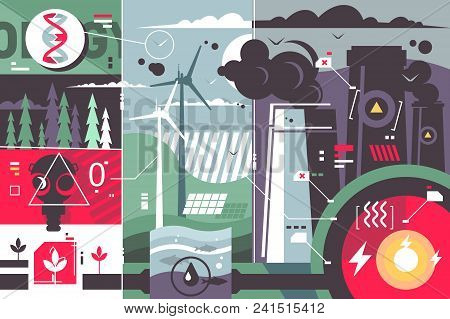 Ecology Environment Abstract Background. Toxic Pollution From Plants. Vector Illustration
