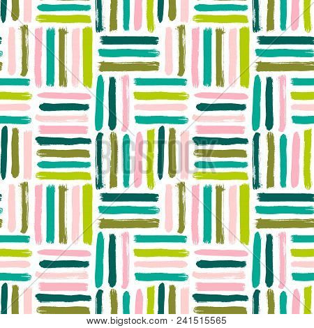 Seamless Vector Abstract Pattern With Brush Strokes. Hand-painted Texture. Pink Green Brushstrokes O