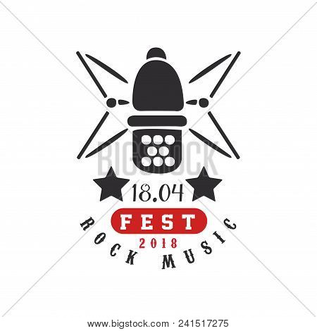 Rock Music Fest Logo, 18.04, Black And Red Festival Poster With Vintage Microphone Vector Illustrati