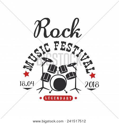 Rock Music Festival Logo, 18.04, Black And Red Poster Vector Illustration Isolated On A White Backgr