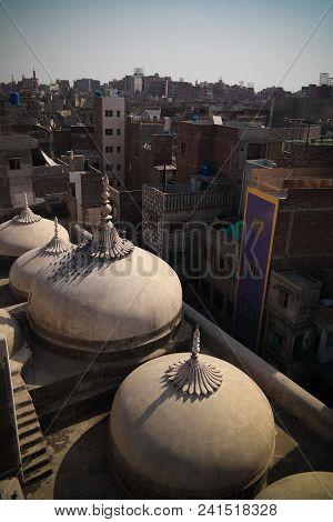 Aerial Panorama Of Wazir Khan Mosque Domes At Lahore, Pakistan