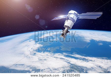Research, Probing, Monitoring Of In Atmosphere. Satellite For Monitoring The Weather In The Polar Or