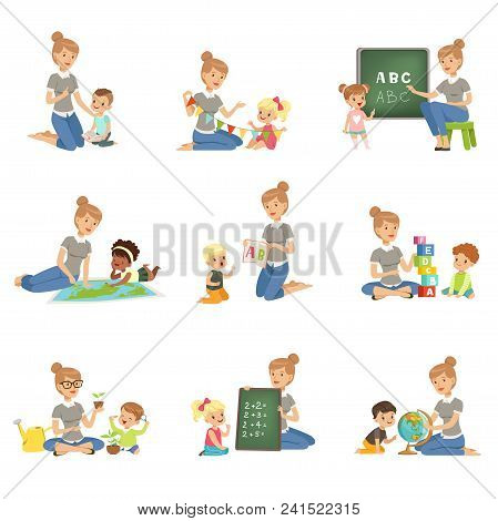 Cute Little Boys And Girls Playing And Studying Set, Children Study The Alphabet, Geography, Biology