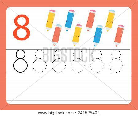 Handwriting Practice. Learning Numbers With Cute Characters. Number Eight. Educational Printable Wor