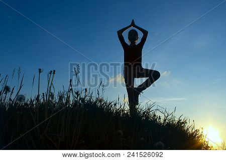 Teenage Girl In A Balancing Yoga Position.  Young Girl In Tree Pose Position, Outdoors.