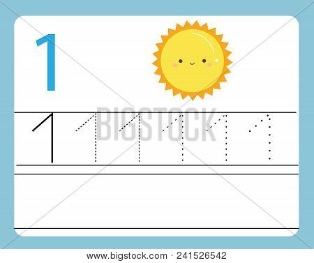 Handwriting Practice. Learning Numbers With Cute Characters. Number One. Educational Printable Works