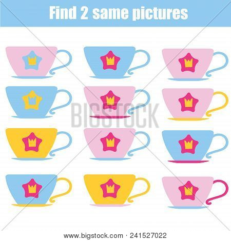Find The Same Pictures. Children Educational Game. Find Equal Pairs Of Cups