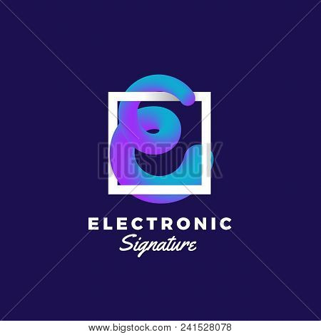 Electronic Signature Abstract Vector Blend Curve. Sign Or Logo Template. Elegant Curved Line In A Sh