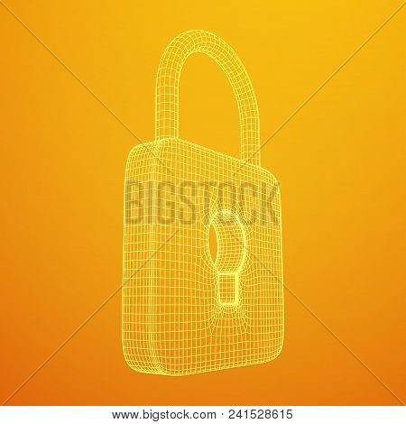 Padlock Cyber Security Concept. Lock Symbol From Lines And Squares, Point Connecting Network. Wirefr