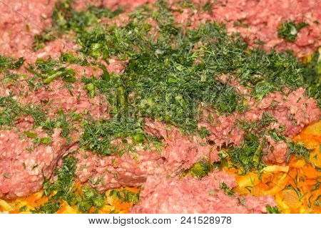 Ground Meat With Sauteed Onions And Carrots And Sprinkled With Chopped Dill During Preparation Of Th
